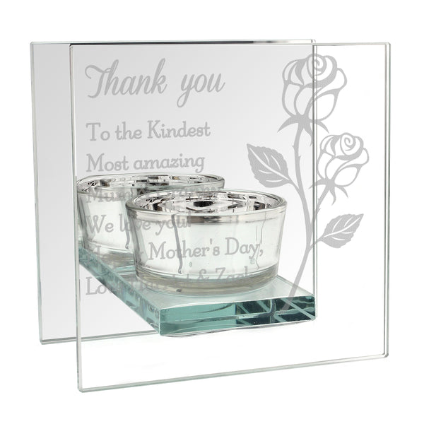 Personalised Rose Mirrored Glass Tea Light Holder white background