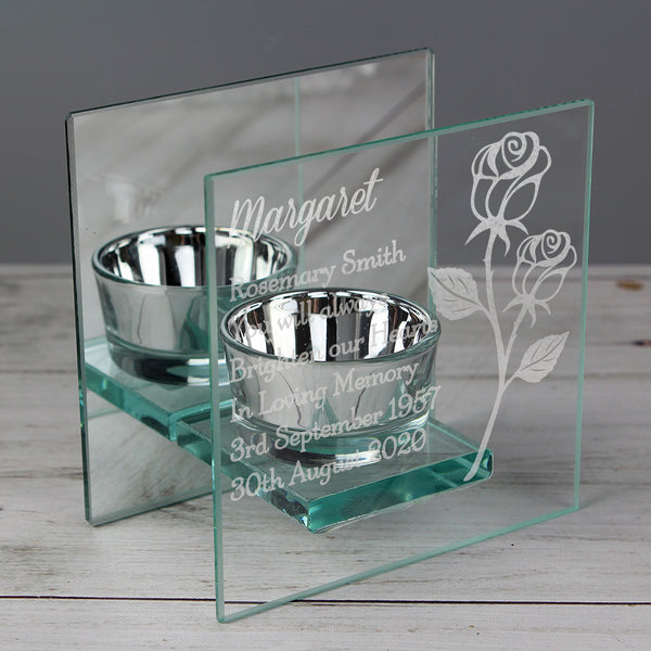 Personalised Rose Mirrored Glass Tea Light Holder from Sassy Bloom Gifts - alternative view