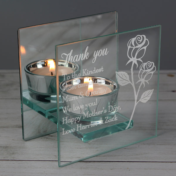Personalised Rose Mirrored Glass Tea Light Holder lifestyle image