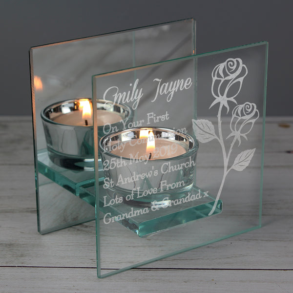 Personalised Rose Mirrored Glass Tea Light Holder with personalised name