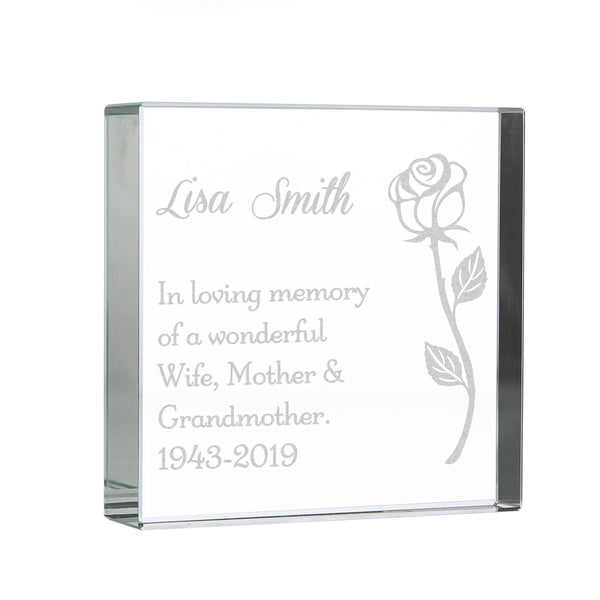 Personalised Rose Large Crystal Token white background