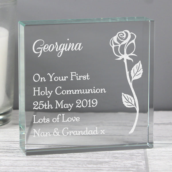 Personalised Rose Large Crystal Token from Sassy Bloom Gifts - alternative view