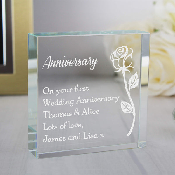 Personalised Rose Large Crystal Token with personalised name