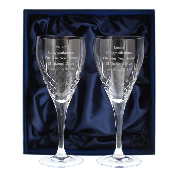 Personalised Pair of Crystal Wine Glasses white background