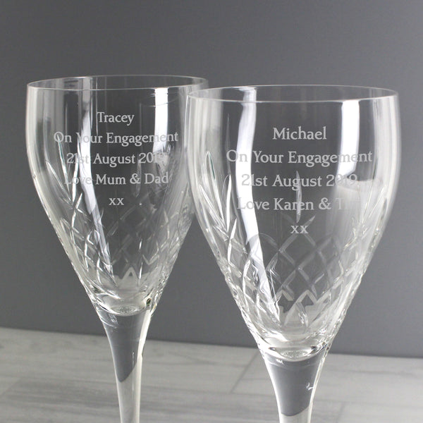Personalised Pair of Crystal Wine Glasses from Sassy Bloom Gifts - alternative view