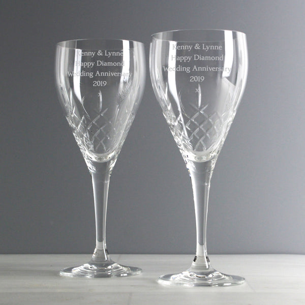 Personalised Pair of Crystal Wine Glasses lifestyle image