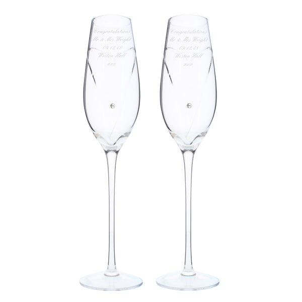 Personalised Hand Cut Heart Pair of Flutes with Swarovski Elements with Gift Box white background
