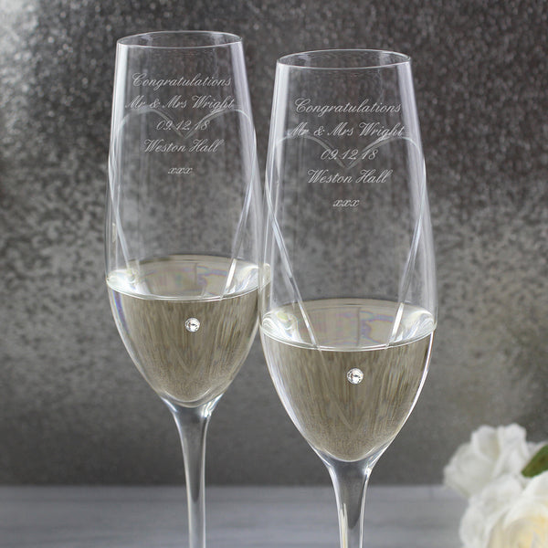 Personalised Hand Cut Heart Pair of Flutes with Swarovski Elements with Gift Box with personalised name