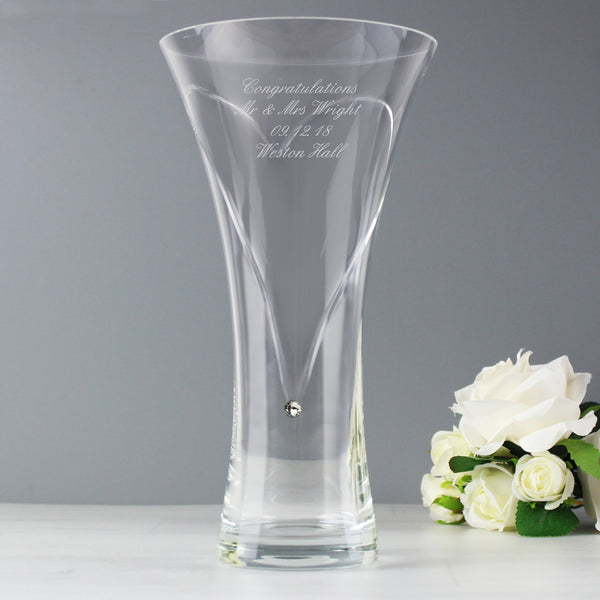 Personalised Large Hand Cut Diamante Heart Vase with Swarovski Elements from Sassy Bloom Gifts - alternative view