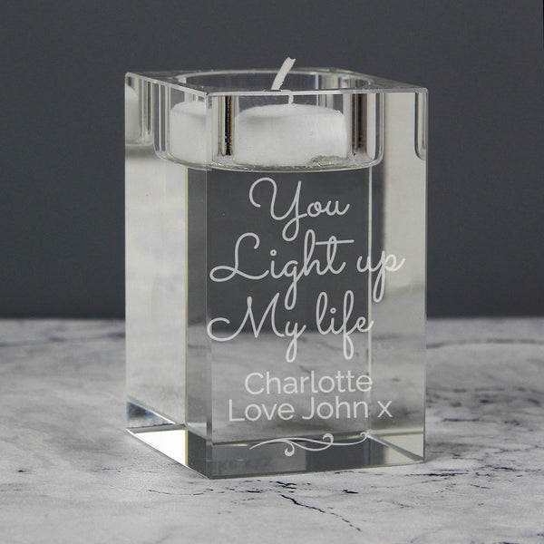 Personalised You Light Up My Life Glass Tea Light Holder from Sassy Bloom Gifts - alternative view