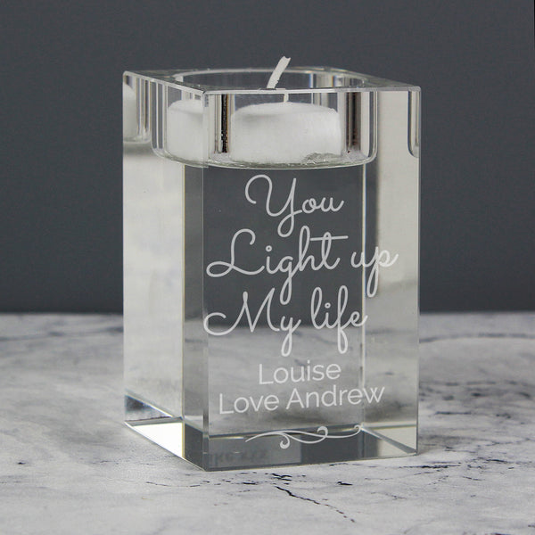 Personalised You Light Up My Life Glass Tea Light Holder lifestyle image
