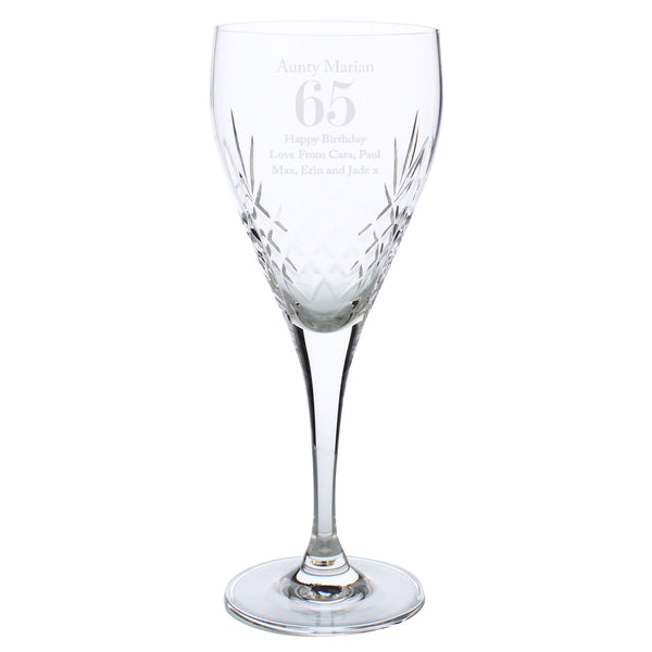 Personalised Big Age Cut Crystal Wine Glass white background