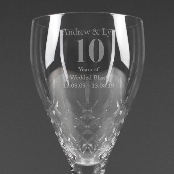 Personalised Big Age Cut Crystal Wine Glass