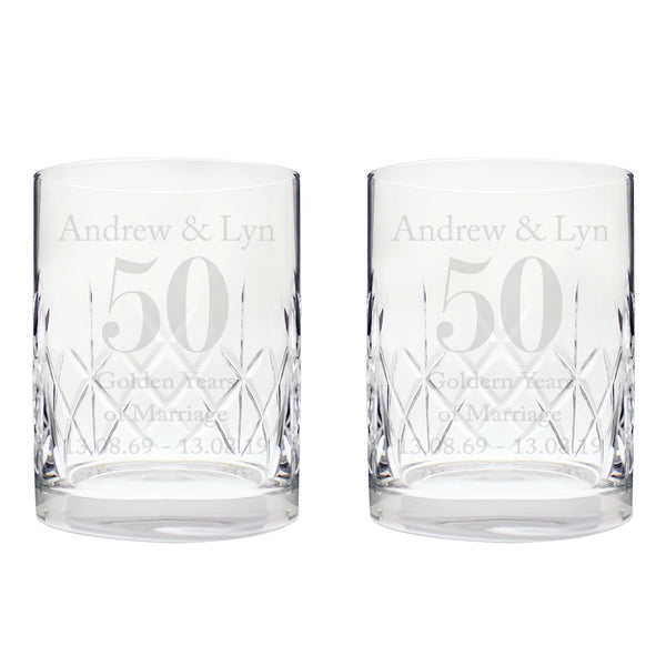 Personalised Anniversary Pair of Crystal Whisky Tumblers white background
