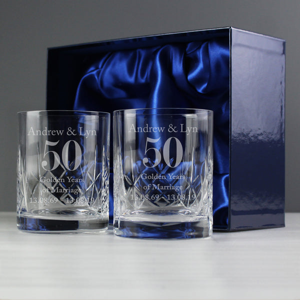 Personalised Anniversary Pair of Crystal Whisky Tumblers from Sassy Bloom Gifts - alternative view