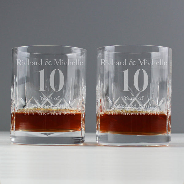 Personalised Anniversary Pair of Crystal Whisky Tumblers lifestyle image