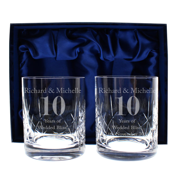 Personalised Anniversary Pair of Crystal Whisky Tumblers with personalised name