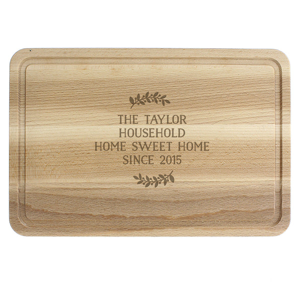 Personalised Wreath Chopping Board white background
