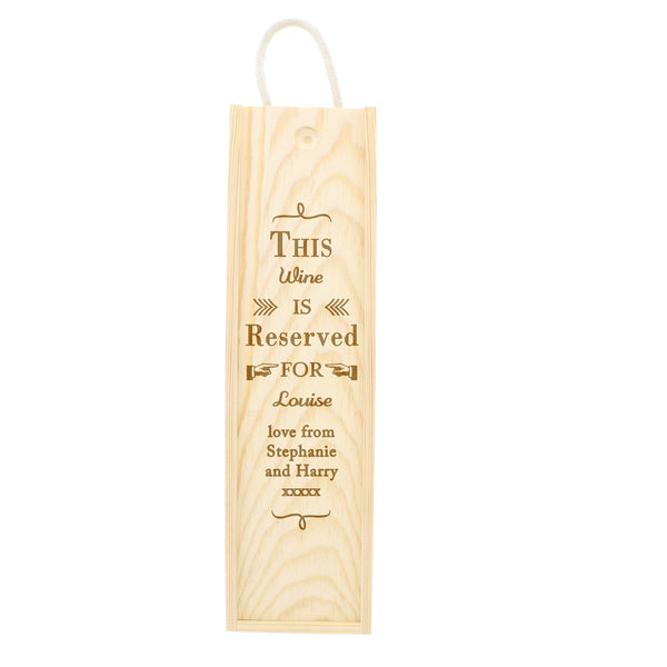 Personalised Reserved For Bottle Presentation Box white background