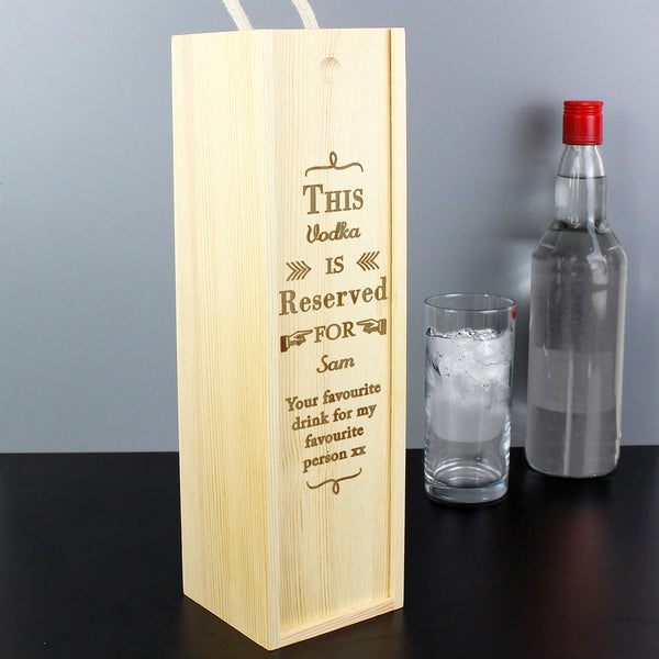 Personalised Reserved For Bottle Presentation Box lifestyle image