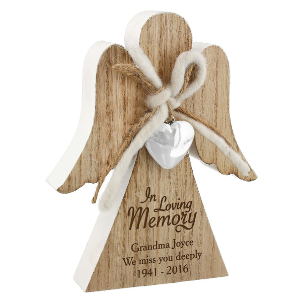 Personalised In Loving Memory Rustic Wooden Angel Decoration white background
