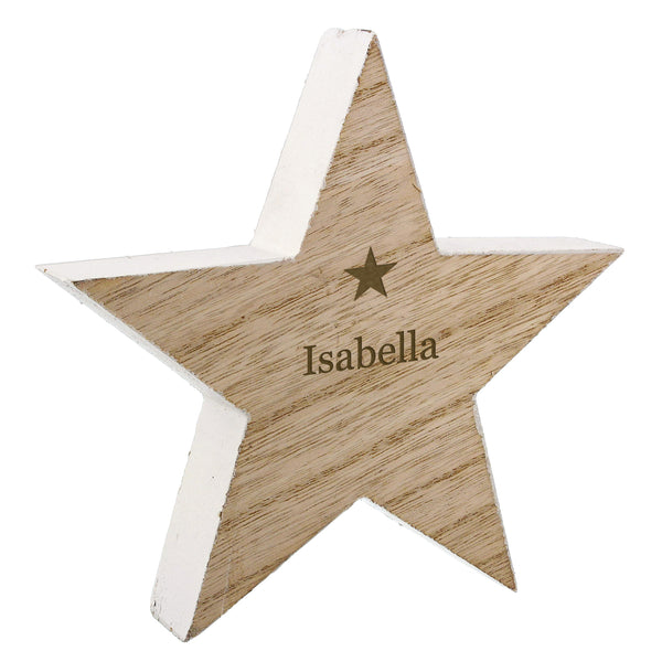Personalised Any Name Rustic Wooden Star Decoration white background