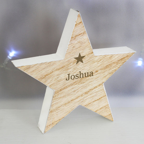 Personalised Any Name Rustic Wooden Star Decoration lifestyle image