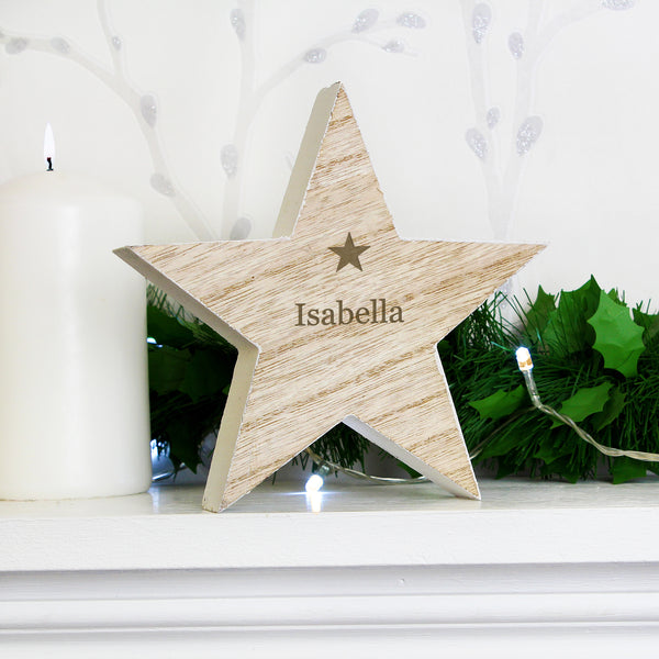 Personalised Any Name Rustic Wooden Star Decoration with personalised name