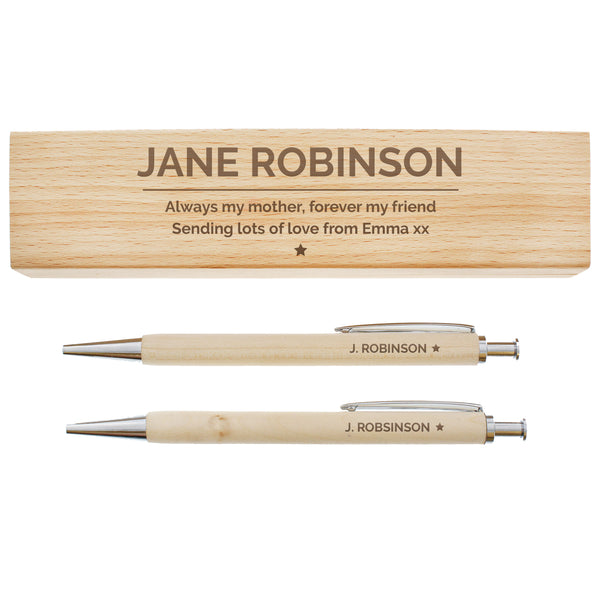 Personalised Classic Wooden Pen & Pencil Box Set white background