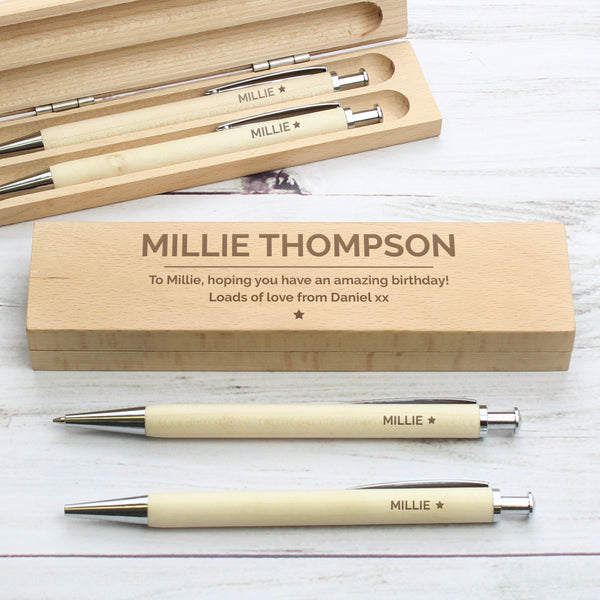Personalised Classic Wooden Pen & Pencil Box Set from Sassy Bloom Gifts - alternative view