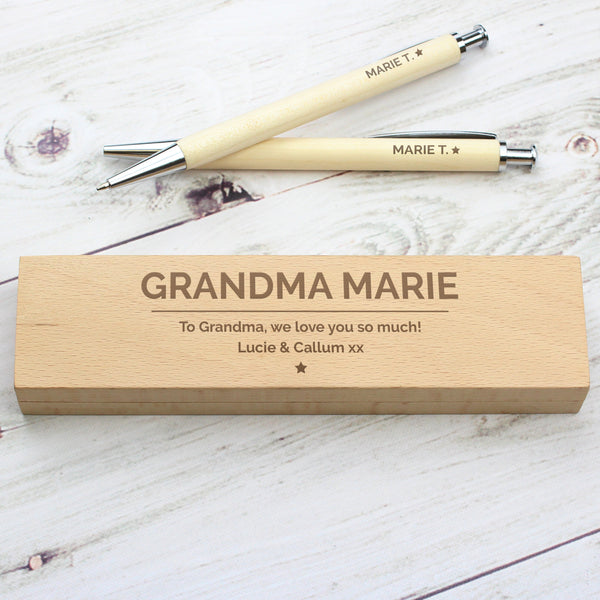 Personalised Classic Wooden Pen & Pencil Box Set lifestyle image
