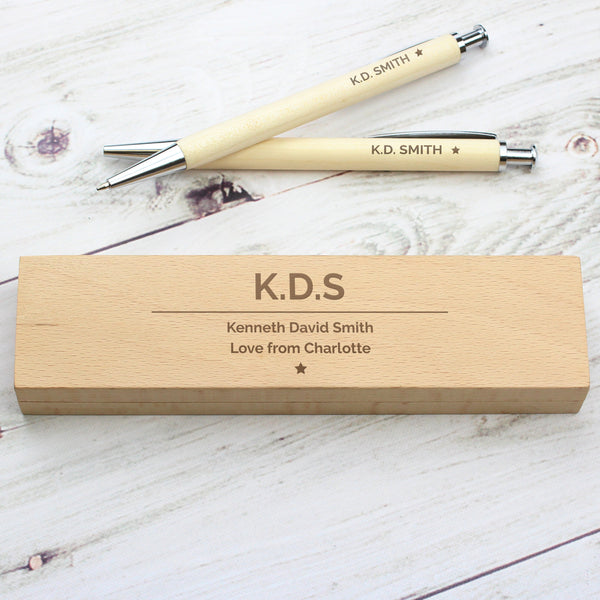 Personalised Classic Wooden Pen & Pencil Box Set with personalised name