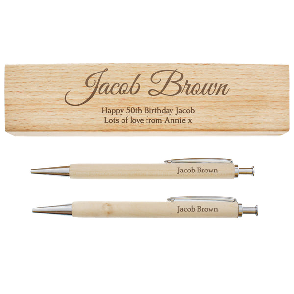 Personalised Any Message Wooden Pen & Pencil Box Set white background