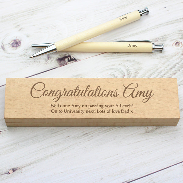 Personalised Any Message Wooden Pen & Pencil Box Set with personalised name