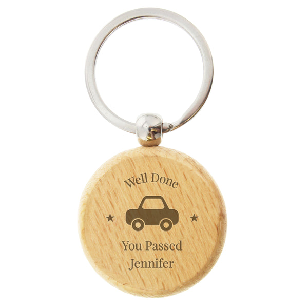 Personalised 'Car Motif' Wooden Keyring white background