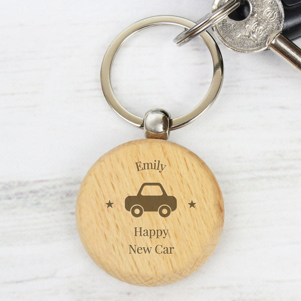 Personalised 'Car Motif' Wooden Keyring from Sassy Bloom Gifts - alternative view