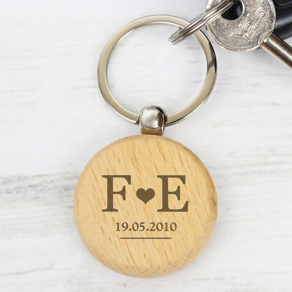 Personalised Monogram Wooden Keyring from Sassy Bloom Gifts - alternative view