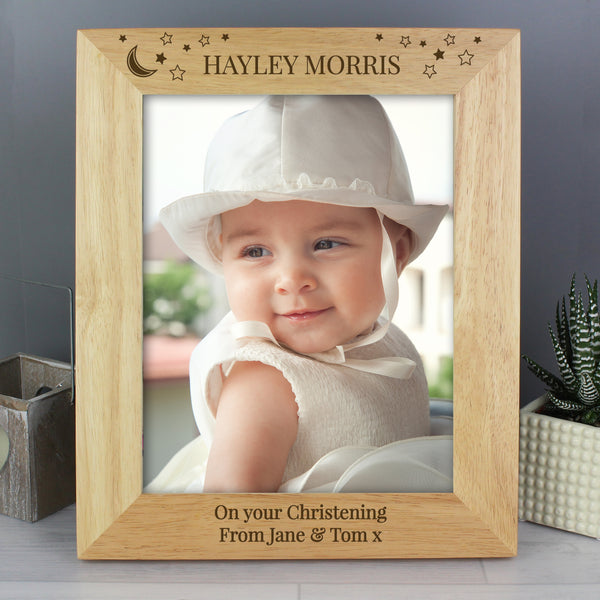 Personalised 10x8 Little Stars Wooden Photo Frame with personalised name