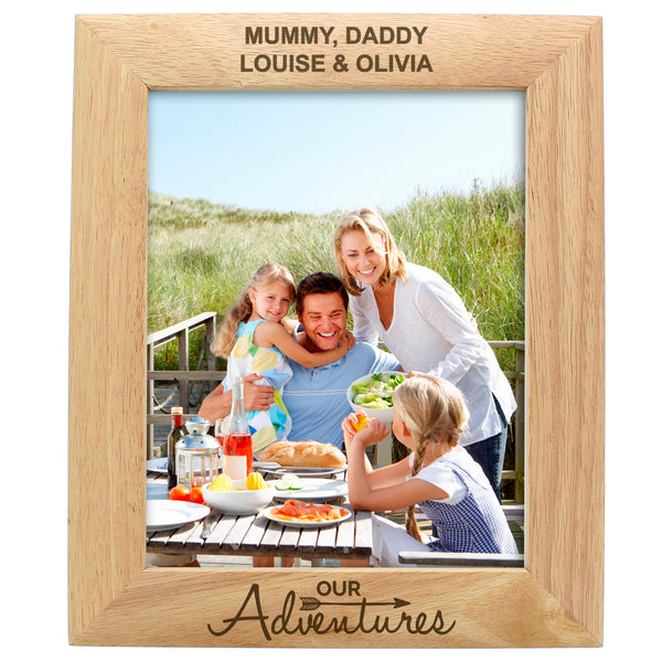 Personalised 10x8 Our Adventures Wooden Photo Frame white background