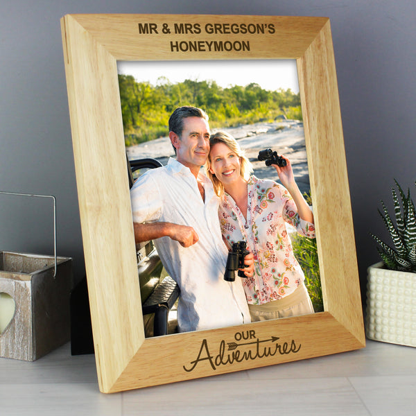 Personalised 10x8 Our Adventures Wooden Photo Frame with personalised name