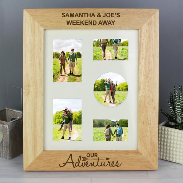 Personalised 10x8 Our Adventures Wooden Photo Frame