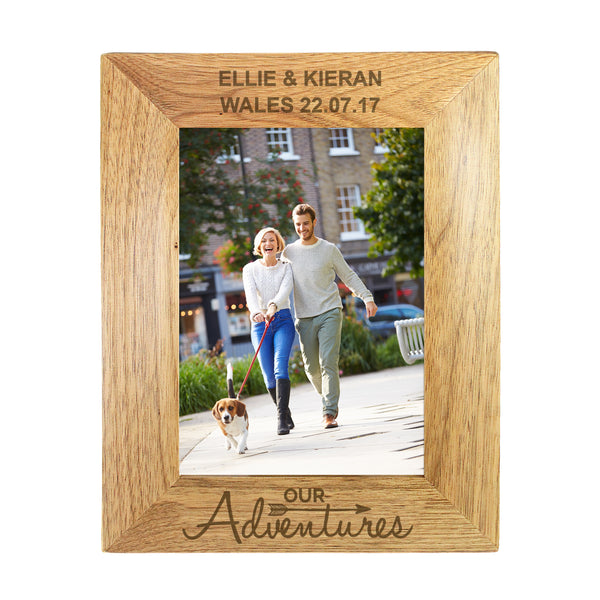 Personalised 5x7 Our Adventures Wooden Photo Frame white background
