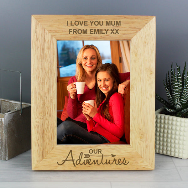 Personalised 5x7 Our Adventures Wooden Photo Frame from Sassy Bloom Gifts - alternative view
