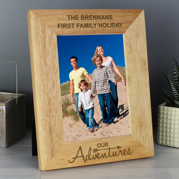 Personalised 5x7 Our Adventures Wooden Photo Frame lifestyle image