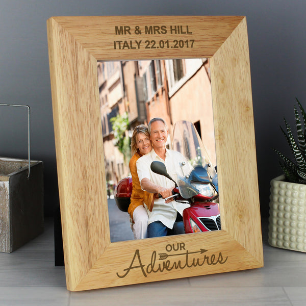 Personalised 5x7 Our Adventures Wooden Photo Frame with personalised name