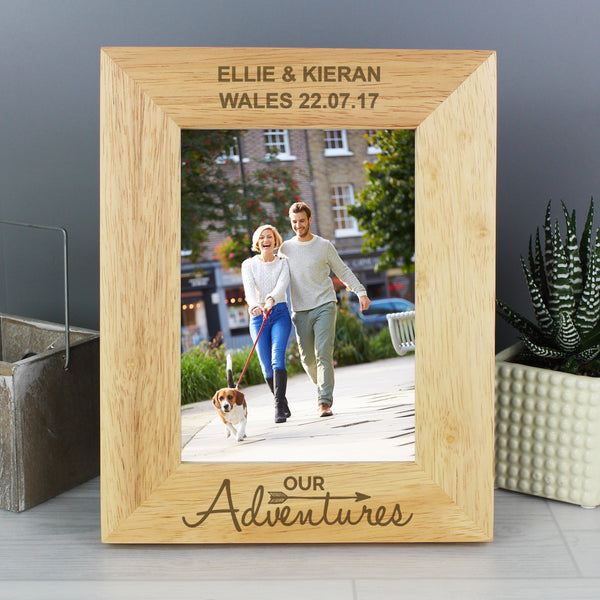 Personalised 5x7 Our Adventures Wooden Photo Frame