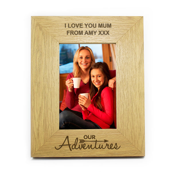 Personalised Oak Finish 6x4 Our Adventures Photo Frame white background