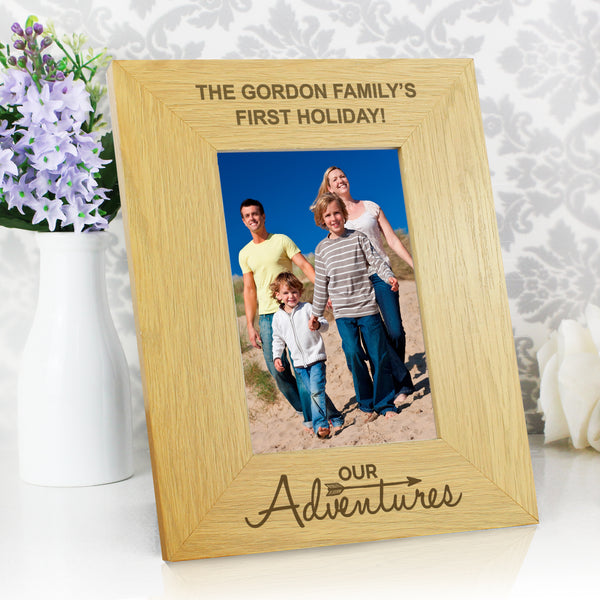 Personalised Oak Finish 6x4 Our Adventures Photo Frame from Sassy Bloom Gifts - alternative view
