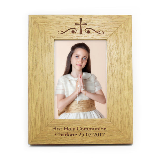Personalised Religious Swirl 5x7 Wooden Photo Frame white background