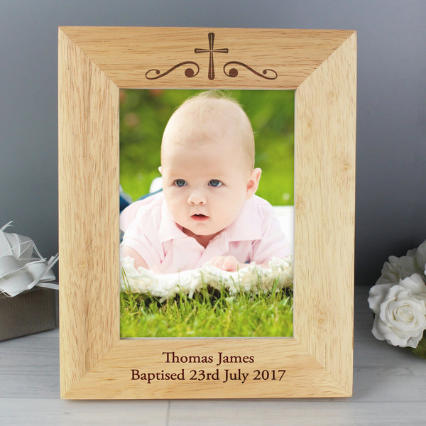 Personalised Religious Swirl 5x7 Wooden Photo Frame lifestyle image